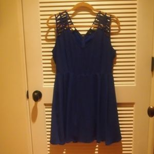 Cobalt Blue Dress with Strappy Shoulders